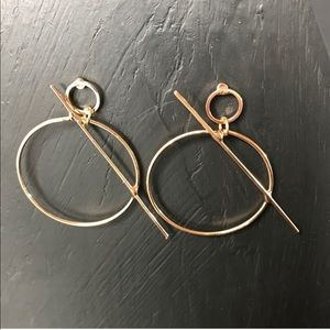Closet Rehab Jewelry - Sold: Geo Bar Hoops in Gold ⚡️